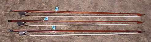 Group of bass viol bows