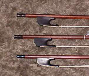 Group of bass viol bow frogs