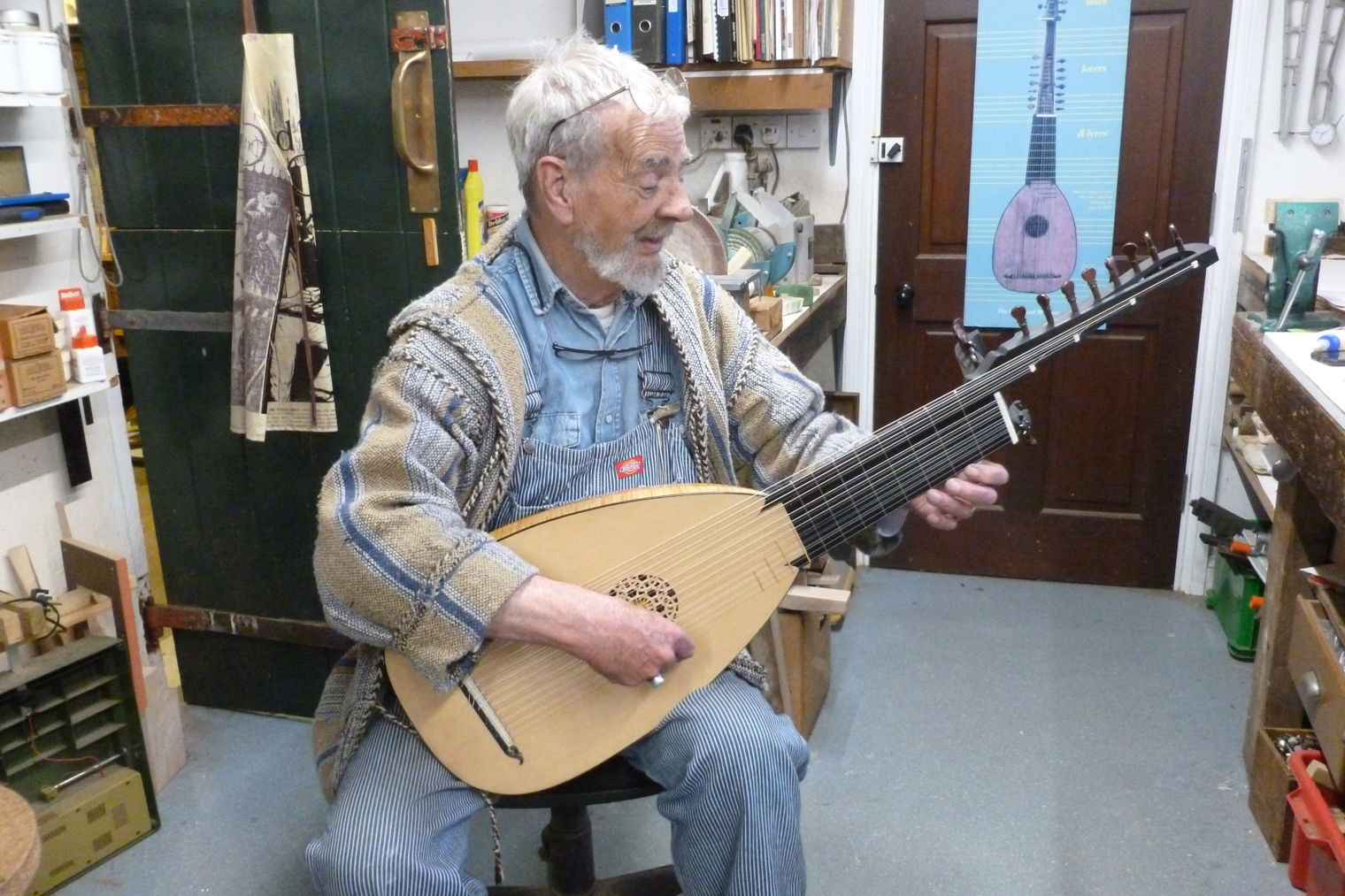 Derek playing the finished 12 course lute