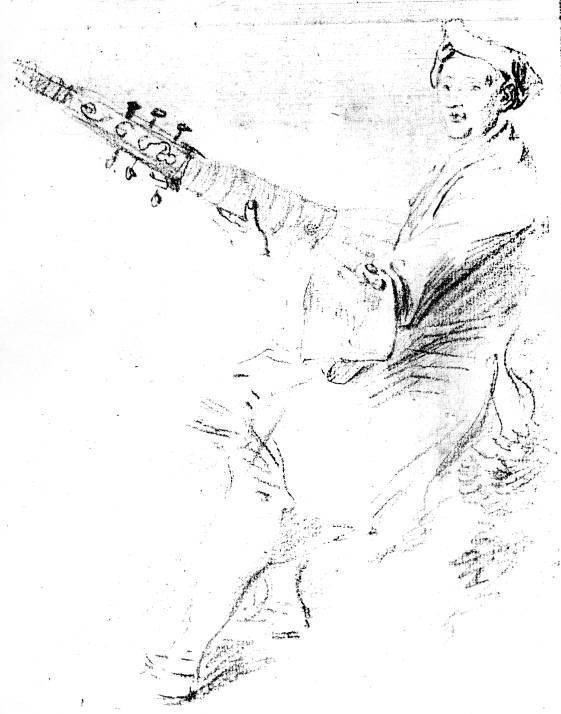 French theorbo by Watteau